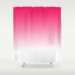 Modern Bright Simple Neon Pink White Color Ombre Gradient Shower Curtain