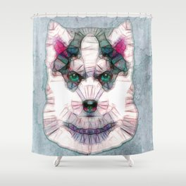 abstract husky puppy Shower Curtain