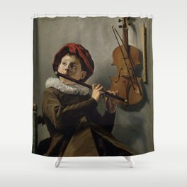 """Judith Leyster """"Boy playing the Flute"""" Shower Curtain"""