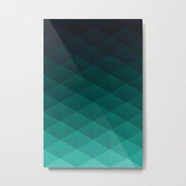 Graphic 869 // Grid Teal Fade Metal Print