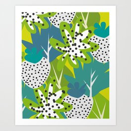 White strawberries and green leaves Art Print