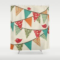 decal Shower Curtains featuring Home Birds 'N' Bunting. by Digi Treats 2