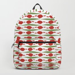 Minimalist Holiday Pattern of Dots and Stripes in Christmas Red and Green Backpack