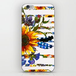 Hand painted yellow orange blue watercolor sunflower pattern iPhone Skin