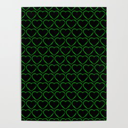 Wicker metal pattern of green hearts on a black background. Poster