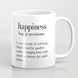 Happiness Definition, Adult, College Dorm Room Decor, Dorm Wall Art, Dictionary Art Print, Office De Coffee Mug