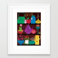 calender Framed Art Prints featuring Calender 2013 Shelf by Elisandra