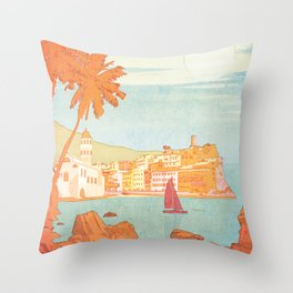 Italy, Cinque Terre Vintage Travel Poster Throw Pillow