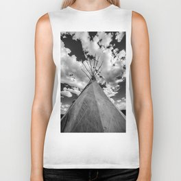 Black and White Teepee Biker Tank