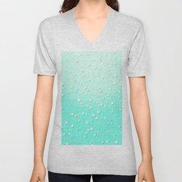 Winter Snow Mint Blue Ombre Background Unisex V-Neck