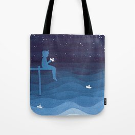 Boy with paper boats, blue Tote Bag