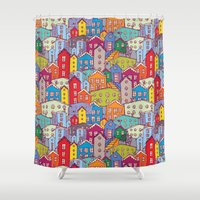 cityscape Shower Curtains featuring Cityscape Sketch by EkaterinaP