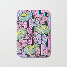 Pinstriped Florals in Pink & Aqua Bath Mat