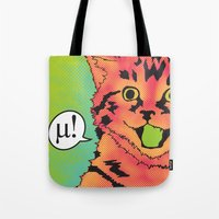 mew Tote Bags featuring Mew! by Purrito Press