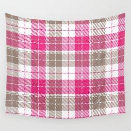 Pink & Natural Tartan Pattern Wall Tapestry