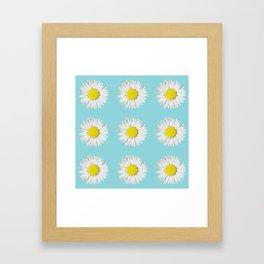 Retro Daisy · Blue Light Framed Art Print