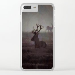Silhouette Of A Highland Stag Clear iPhone Case