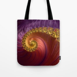 Purple Gold and Red Fractal Spiral Tote Bag
