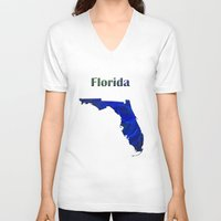 florida V-neck T-shirts featuring Florida Map by Roger Wedegis
