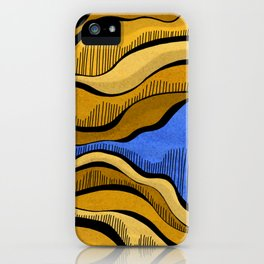 Golden Waves with Interrupting Blue iPhone Case
