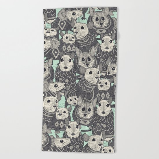 sweater mice mint Beach Towel