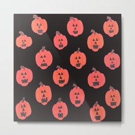 Halloween Jack-o-Lanterns on Black Metal Print