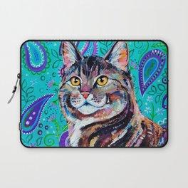 Tabby Cat on Paisley Laptop Sleeve