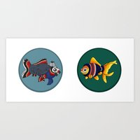 johnlock Art Prints featuring Johnlock goldfish by WhoGroovesOn