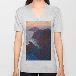 Claude Monet Impressionist Landscape Oil Painting Sunset At Sea Cliffs Ocean Cliff Landscape Unisex V-Neck