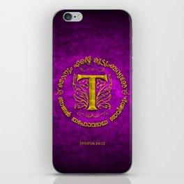 Joshua 24:15 - (Gold on Magenta) Monogram T iPhone Skin