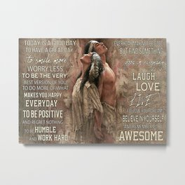 Native American Poster Native American Couple Today Is A Good Day Metal Print