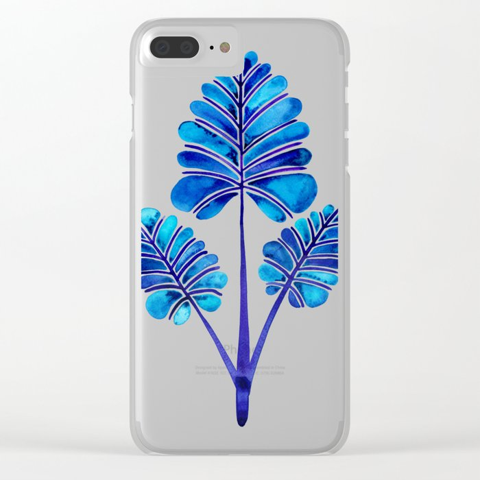 Tropical Palm Leaf Trifecta – Navy Palette Clear iPhone Case