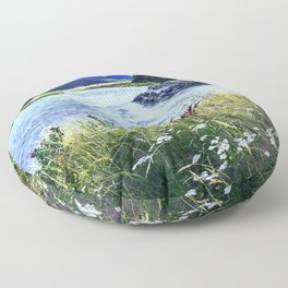 As a River Serpentines Through the Mountains Floor Pillow