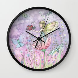 A Friendly Encounter Fairy and Ladybug Art by Molly Harrison Wall Clock