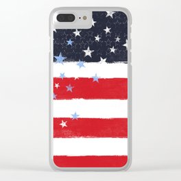 Patriotic Grunge Stars and Stripes Clear iPhone Case