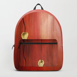 Red fall | Golden heart-shaped leaves at sunset Backpack