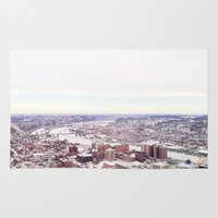 pittsburgh Area & Throw Rugs featuring Ice Pittsburgh by clairemac