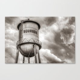 Bourbon Water Tower Whiskey Barrel With Clouds - Sepia Edition Canvas Print
