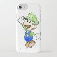 luigi iPhone & iPod Cases featuring Luigi Watercolor Art by Olechka