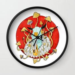 Watercolour skull cow red sun psilocybin mushrooms Wall Clock