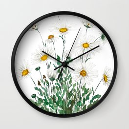 white Margaret daisy watercolor Wall Clock