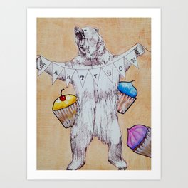 Bear and Cupcakes Art Print