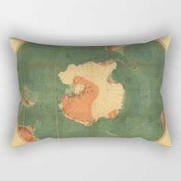Old Yellowish Antarctic Map with Folding Marks, Artwork for Wall Art, Prints, Tshirts, Posters, Men, Women, Youth Rectangular Pillow