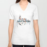 nashville V-neck T-shirts featuring + Nashville Skyline + by BANBAN