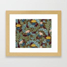 Cicadas and Thistles Vintage Textile Pattern, 1897 Framed Art Print