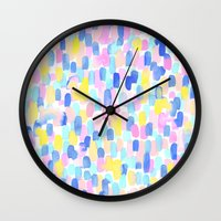 toddler Wall Clocks featuring Delight Pastel by Jacqueline Maldonado