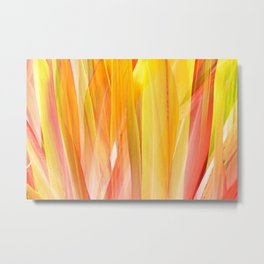 Orange and Yellow Palm Leaves Abstraction Metal Print