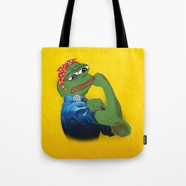 Pepe The Frog Yes we can do it WW2 poster vintage Ad Tote Bag