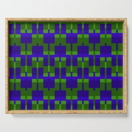Squares and Lines in Blue and Green Serving Tray