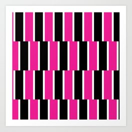 Shifted Illusions - Black and Pink Art Print